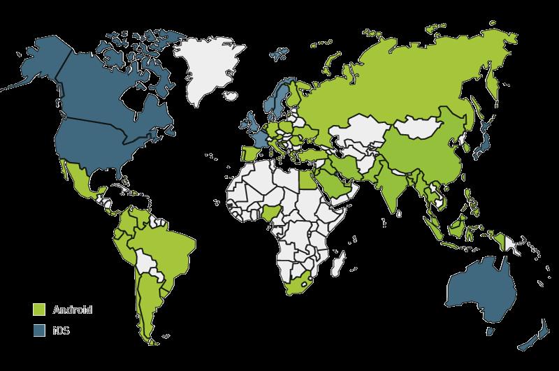 Distribuzione dispositivi Android nel mondo